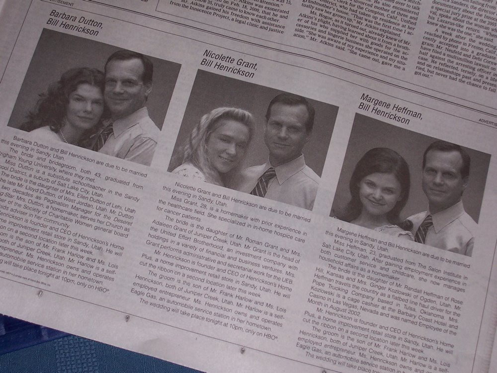 New York Times Wedding Announcement.Hbo S Big Love Campaign Hits Newspaper Wedding Pages